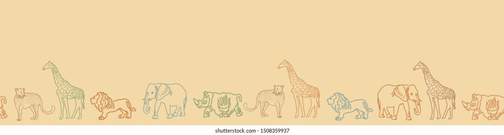 Cute hand drawn African animal safari   seamless border pattern. Perfect for stationary , textile and home decor projects.