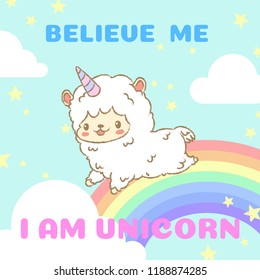 Cute hand drawn alpaca in unicorn costume running on the rainbow. Cute cartoon character. Vector illustrator.