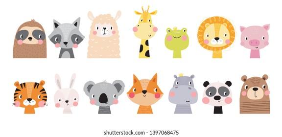 Cute hand drawn animal for kids poster. Cute frog, raccoon, bear, sloth, panda, giraffe, fox, bunny, tiger cartoon vector illustration. Hand drawn vector illustration for posters, cards, t-shirts.