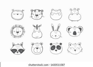 Cute Hand drawn animals vector set. Vector lion, koala, hare, lion, tiger, frog, panda, fox, zebra, raccoon, hippo, owl