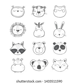 Cute Hand drawn animals vector set. Vector lion, koala, hare, lion, tiger, frog, panda, fox, zebra, raccoon, hippo, owl