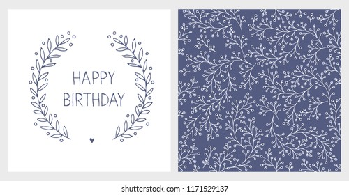 Cute Hand Drawn Birthday Illustartions. Dark Blue Adlut Infantile Design. Delicate Abstract Floral Graphic. Hand Written Letters. Happy Birhday Text.