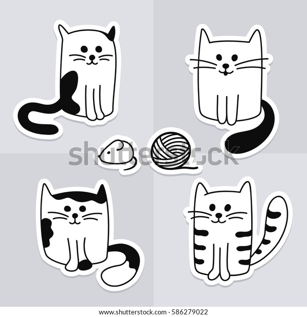 black and white cat characters cute hand drawn black white cats stock vector (royalty free