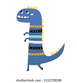 Cute hand drawn blue dinosaur. Cartoon creative Dino vector illustration in scandinavian style. Design for apparel, poster, kids print