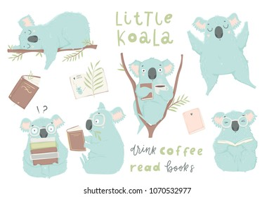 Cute hand drawn blue koala illustration set. Books, coffee, lettering, koala bear art collection. Cute design for baby clothes, textile, kid room decor, prints