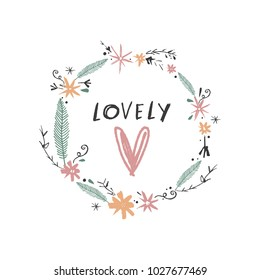 Cute hand drawn boho frame template. Pastel, wreath, flowers. Decor elements for postcards, cards, posters, souvenirs and more.  Vector, clipart and jpg. Isolated.