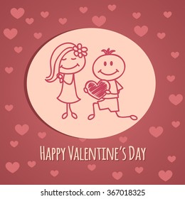 Cute hand drawn boy and girl (cartoon doodle)Valentine`s day background.