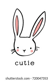 Cute hand drawn bunny icon. Sweet rabbit illustration in doodle style.