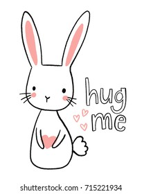 Cute hand drawn bunny illustration. Sweet rabbit character holding a heart. Hug me.