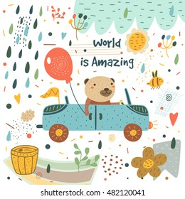 Cute hand drawn card, postcard with bear, car, balloon, rain drops, bee, honey barrel, flag, cloud, flowers, hearts, polka dots, abstract elements. Background, cover for children in cartoon style