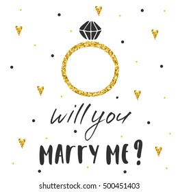 Cute hand drawn card, postcard with marriage ring, hearts, polka dots. Background with will you marry me lettering quote