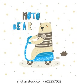 Cute hand drawn card, postcard with white polar bear riding motorcycle. Background, cover for children in cartoon style with lettering quote moto bear