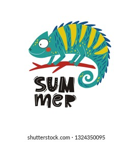 Cute hand drawn Cartoon chameleon. Summer vector print with cartoon chameleon. Doodle style design elements.