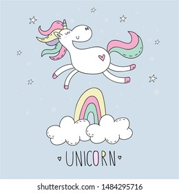Cute hand drawn cartoon character unicorn. vector illustration. print for kids.