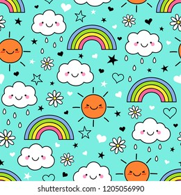 Cute hand drawn cartoon cloud ,sun and rainbow seamless pattern on blue background