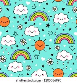 Cute hand drawn cartoon cloud ,sun and rainbow seamless pattern on blue background