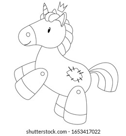 Cute hand drawn cartoon unicorn. Vector illustration in black outline on a white background for designing baby clothes, kid print, posters, coloring page
