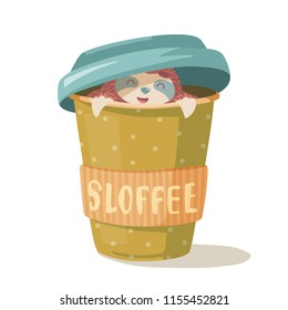 cute hand drawn cartoon vector sloth hugs a cup of cofee. colorful animal illustration