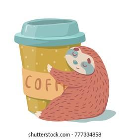 cute hand drawn cartoon vector sloth hugs a cup of cofee. colorful animal illustration