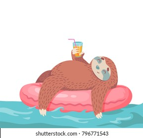 cute hand drawn cartoon vector sloth in inflatable tube with coctail. colorful animal illustration