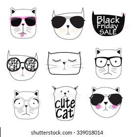Cute Hand drawn Cat Set Vector Illustration EPS10