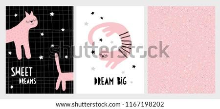 Cute Hand Drawn Cat Vector Illustration Stock Vector (Royalty Free