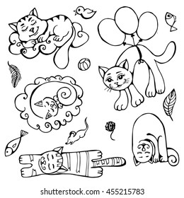 Cute hand drawn cats set. sleeping on a cloud, flying on balloons, goldfish, mouse, feather, bird