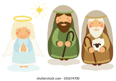 Cute hand drawn characters of Nativity scene as angel and shepherds