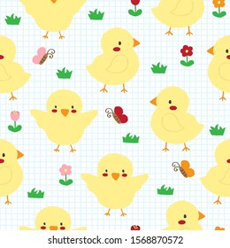 Cute hand drawn chick on grid background seamless pattern