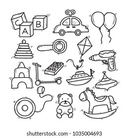 Cute Hand Drawn Children Toy Theme Doodle Collection In White Isolated Background