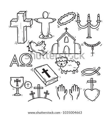 cute hand drawn christian theme doodle stock vector royalty free