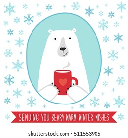 Cute hand drawn Christmas and New Year card with polar bear and hand written text Sending you beary warm winter wishes on snowy background