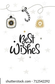 Cute hand drawn Christmas postcard with lettering and doodle elements. Best wishes - New Year phrase. Vector illustration.