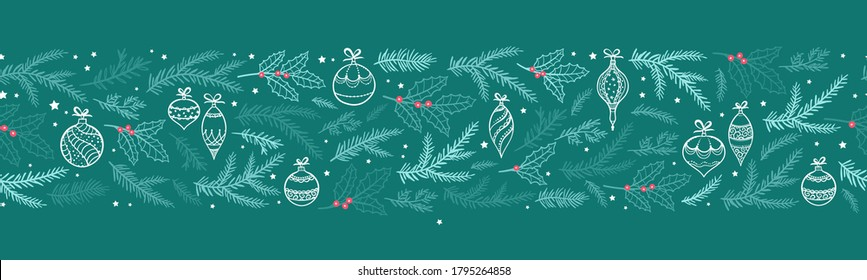 Cute hand drawn Christmas seamless garland, horizontal banner with branches and decoration. Great for card, banners, wallpaper - vector design