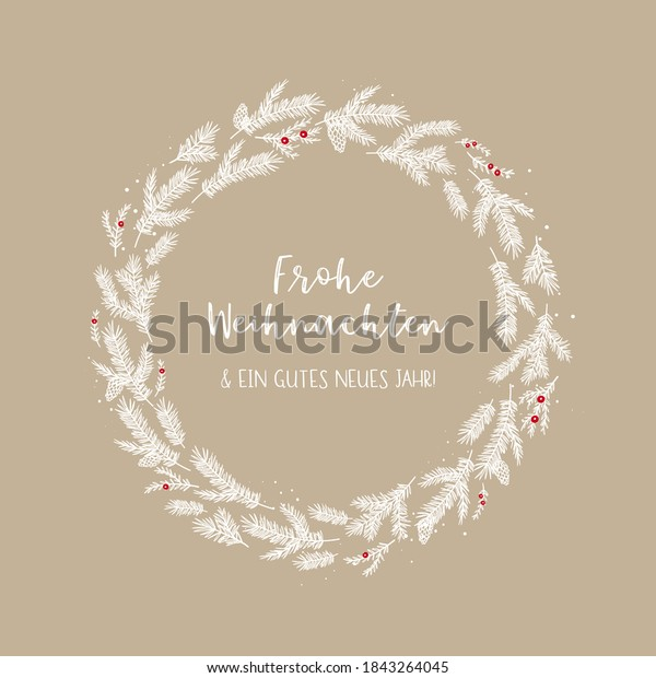"""Cute hand drawn christmas wreath with text """"Merry Christmas and a Happy New Year"""" in german, great for banners, wallpapers"""