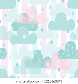 Cute hand drawn clouds Seamless pattern. vector illustration