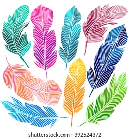 Cute hand drawn colorful feather set Isolated on white background. Vector illustration