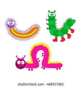 Cute hand drawn crawling caterpillar tree insect element funny little bug