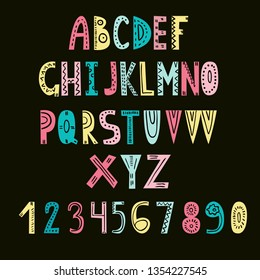 Cute hand drawn cut out quirky alphabet. Set of letters for modern hipster and kids design