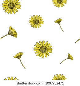 Cute Hand Drawn Daisy Seamless Pattern on White Background. Vector Repeat Pattern with Chamomile Flowers.
