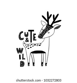 Cute hand drawn dear in black and white style. Cartoon vector illustration in scandinavian style