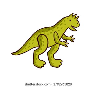 Cute hand drawn dinosaur baby toy vector flat illustration. Amusing childish stuff animal with tail decorated by design elements isolated on white. Funny adorable plaything for game or entertainment