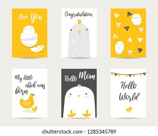 Cute hand drawn doodle baby shower cards, brochures, invitations with chicken, chick, hen, bird, egg, flags. Cartoon animals background