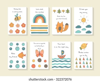 Cute hand drawn doodle baby shower cards, brochures, invitations with bee, flowers, rainbow, fox, trees, sun, clouds, fish, bubbles, butterfly, ship, waves, bird. Cartoon animals background
