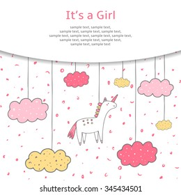 Cute hand drawn doodle baby shower cover, card, background. It's a girl postcard with unicorn and clouds in the sky