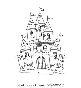 Cute hand drawn doodle cartoon fairytale castle for princess, magic kingdom. Vector illustration.