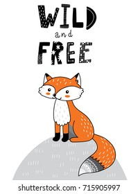 cute hand drawn doodle fox