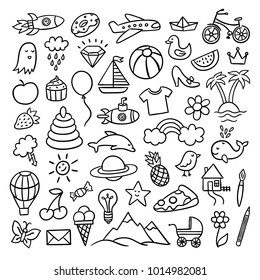Cute hand drawn doodle illustrations with different elements, toys, animals, food, nature objects