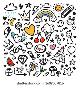 Cute hand drawn doodle images. Children draw various things about happiness, love.