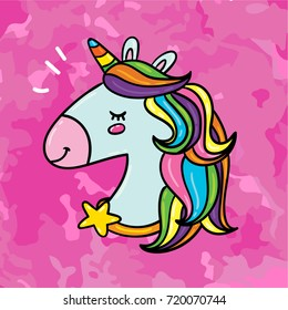 Cute hand drawn doodle hand drawn outlined cartoon comic style magic unicorn horse with rainbow hair illustration on grunge texture pink background